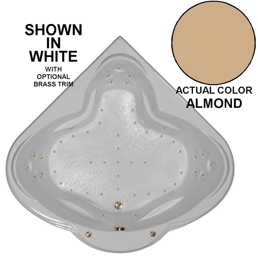 Watertech Whirlpool Baths 62-in L x 62-in W x 24-in H Almond Acrylic 3-Person Corner Drop-in Air Bath