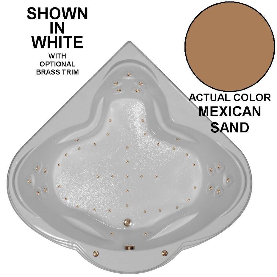 Watertech Whirlpool Baths 62-in L x 62-in W x 24-in H Mexican Sand Acrylic 3-Person Corner Drop-in Air Bath