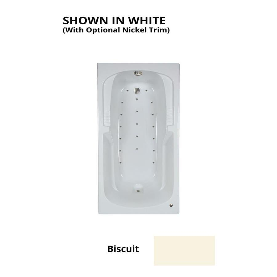 Watertech Whirlpool Baths 60-in L x 32-in W x 21-in H Biscuit Acrylic Rectangular Drop-in Air Bath