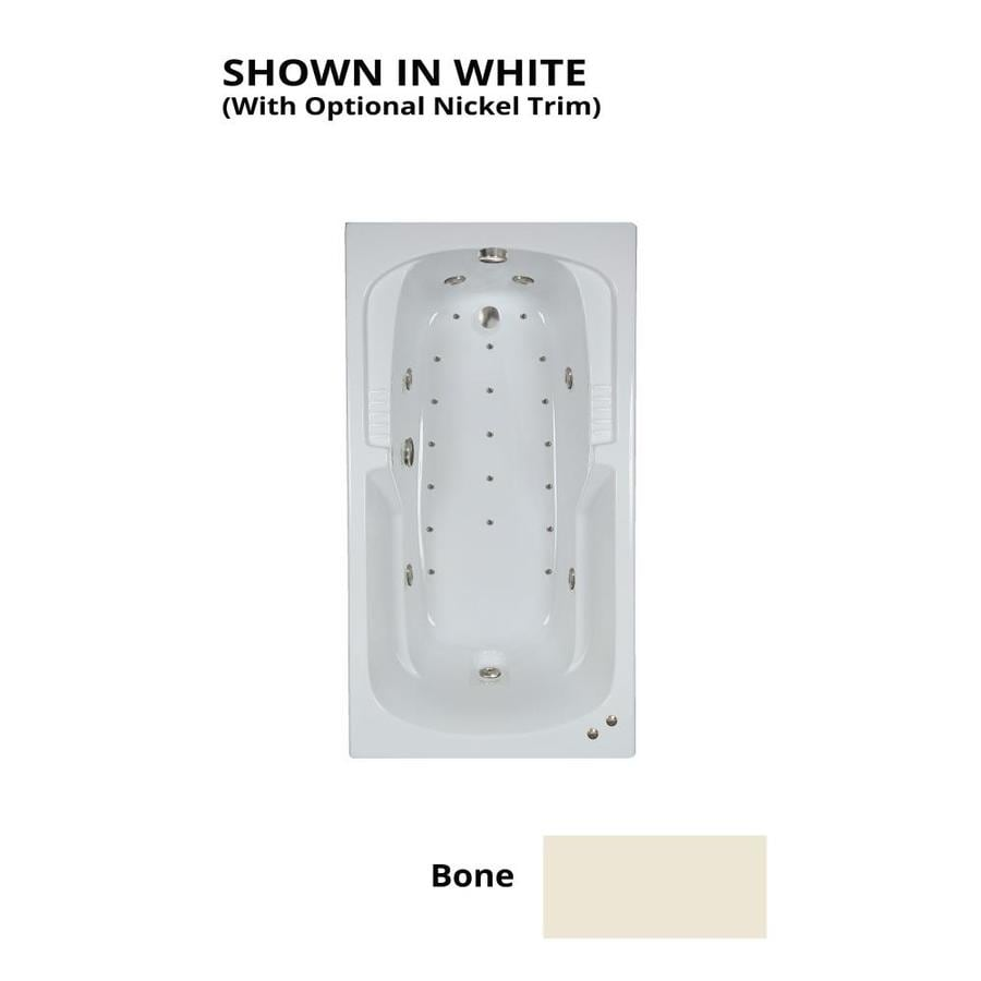 Watertech Whirlpool Baths Designer 60-in L x 32-in W x 21-in H Bone Acrylic Rectangular Drop-in Whirlpool Tub and Air Bath