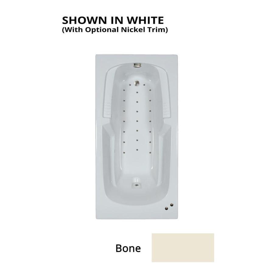 Watertech Whirlpool Baths 72-in L x 36-in W x 21-in H Bone Acrylic Rectangular Drop-in Air Bath