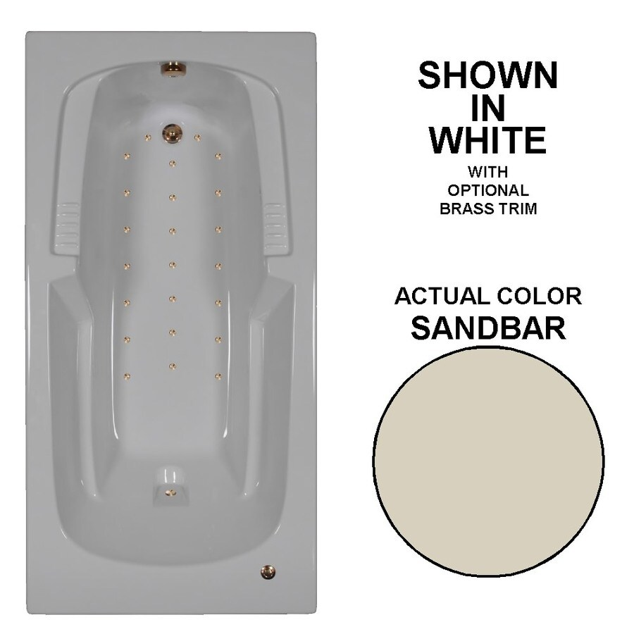 Watertech Whirlpool Baths 72-in L x 36-in W x 21-in H Sandbar Acrylic Rectangular Drop-in Air Bath