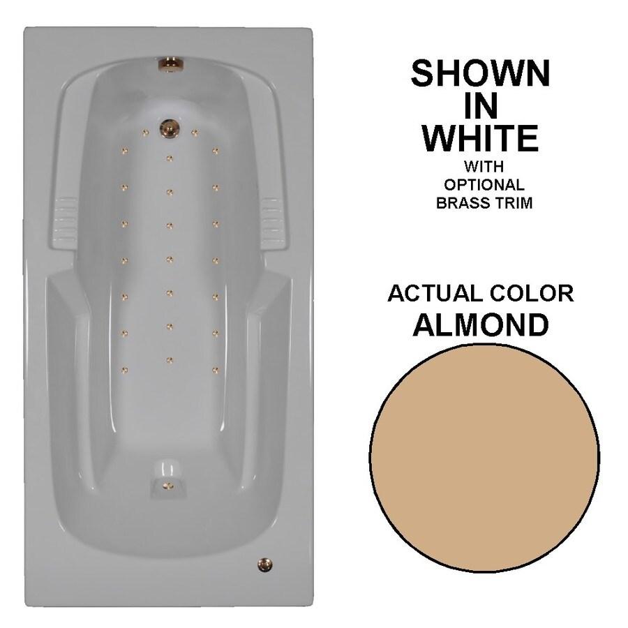 Watertech Whirlpool Baths 72-in L x 36-in W x 21-in H Almond Acrylic Rectangular Drop-in Air Bath