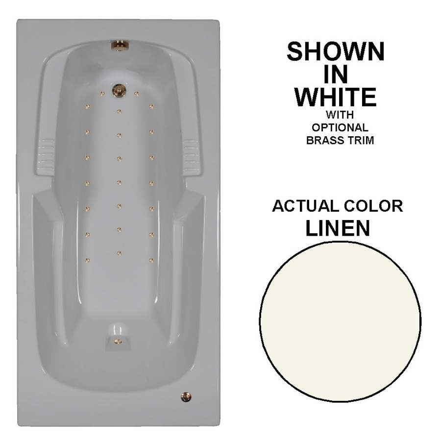 Watertech Whirlpool Baths 72-in L x 36-in W x 21-in H Linen Acrylic Rectangular Drop-in Air Bath
