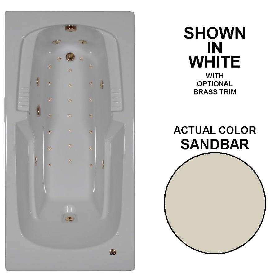 Watertech Whirlpool Baths Designer 72-in L x 36-in W x 21-in H Sandbar Acrylic Rectangular Drop-in Whirlpool Tub and Air Bath