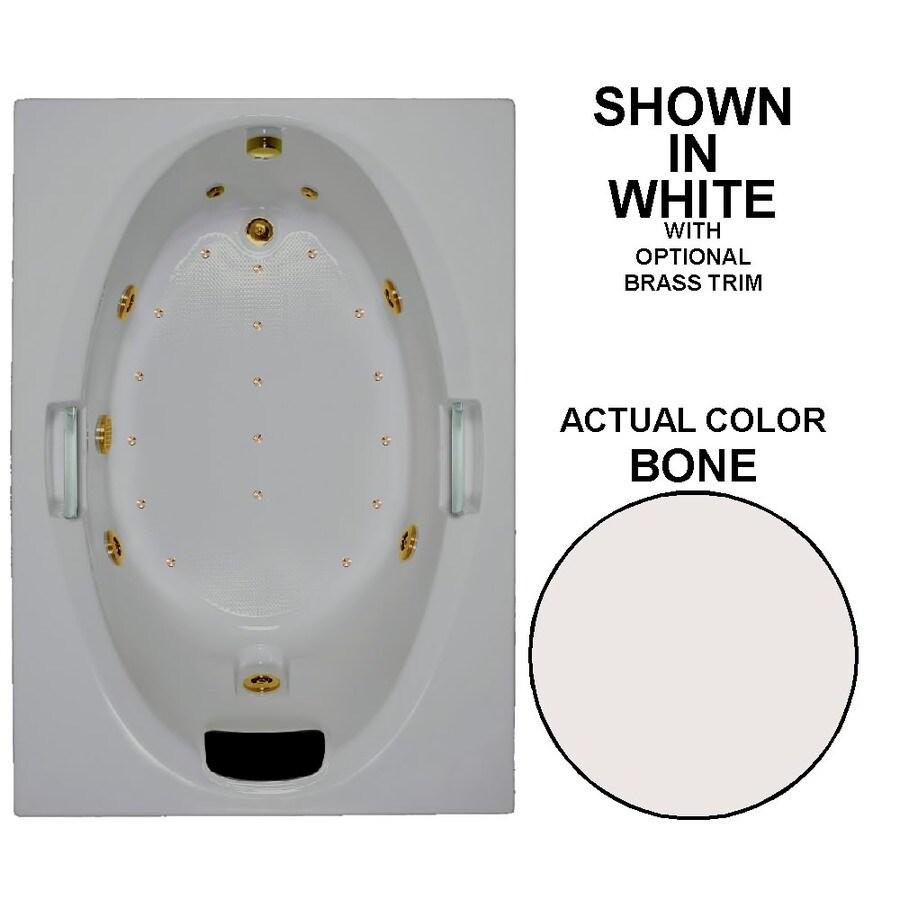 Watertech Whirlpool Baths Designer 60-in L x 42-in W x 21.5-in H Bone Acrylic Oval In Rectangle Drop-in Whirlpool Tub and Air Bath