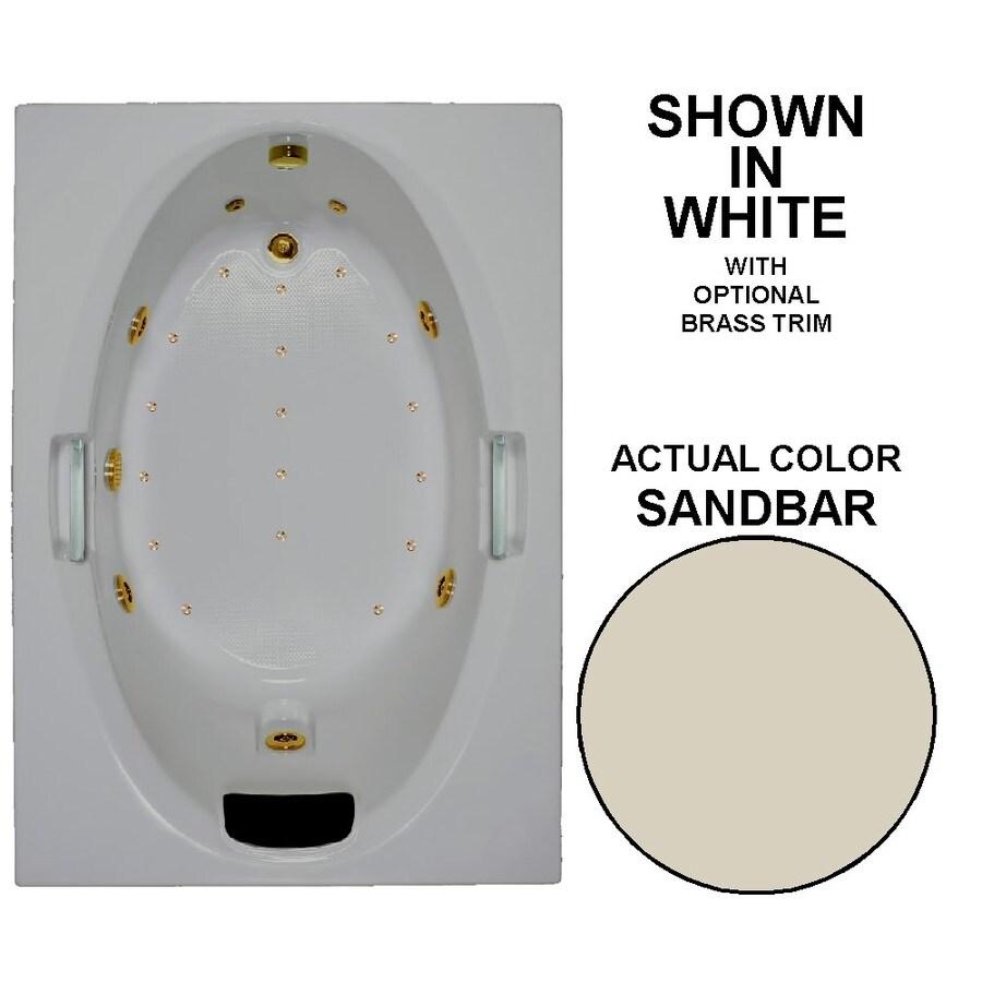 Watertech Whirlpool Baths Designer 60-in L x 42-in W x 21.5-in H Sandbar Acrylic Oval In Rectangle Drop-in Whirlpool Tub and Air Bath