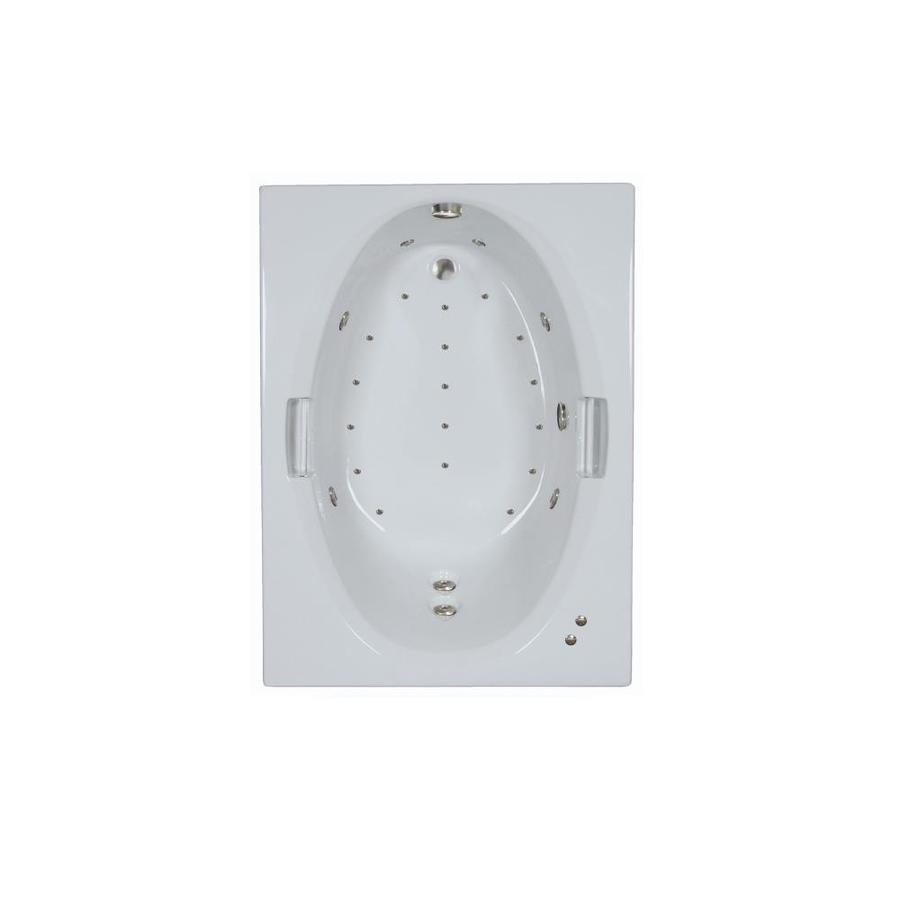 Watertech Whirlpool Baths Designer 60-in L x 42-in W x 21.5-in H White Acrylic Oval In Rectangle Drop-in Whirlpool Tub and Air Bath