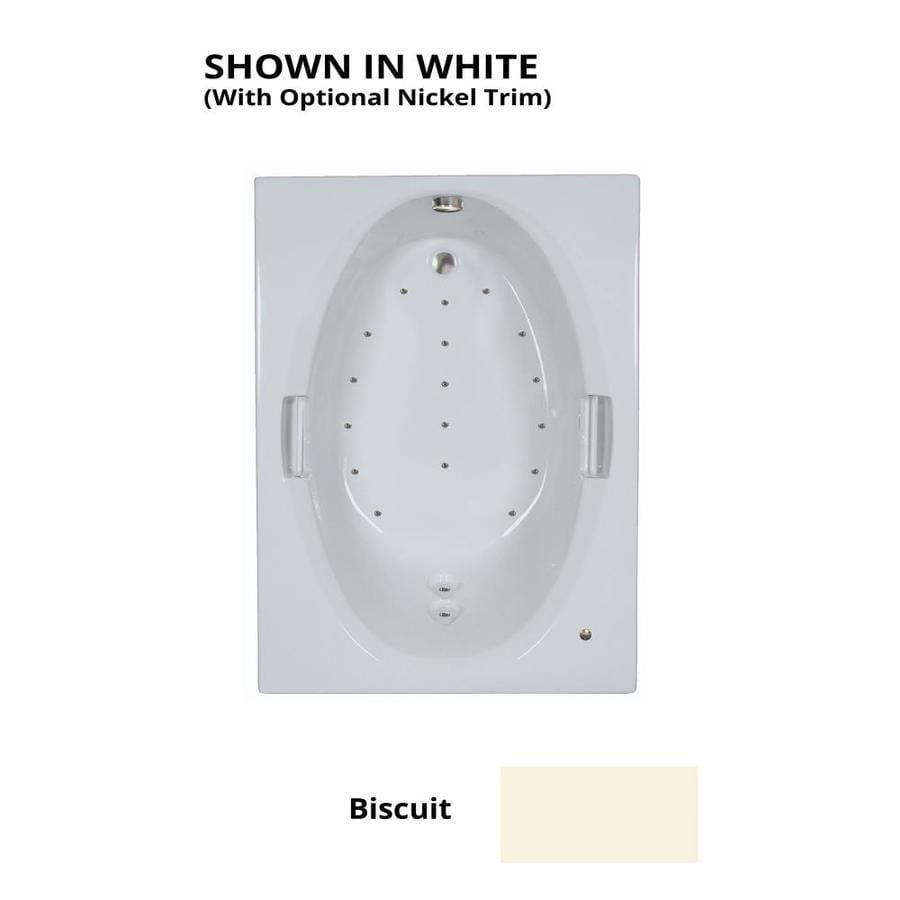 Watertech Whirlpool Baths 60-in L x 42-in W x 21.5-in H Biscuit Acrylic Rectangular Drop-in Air Bath