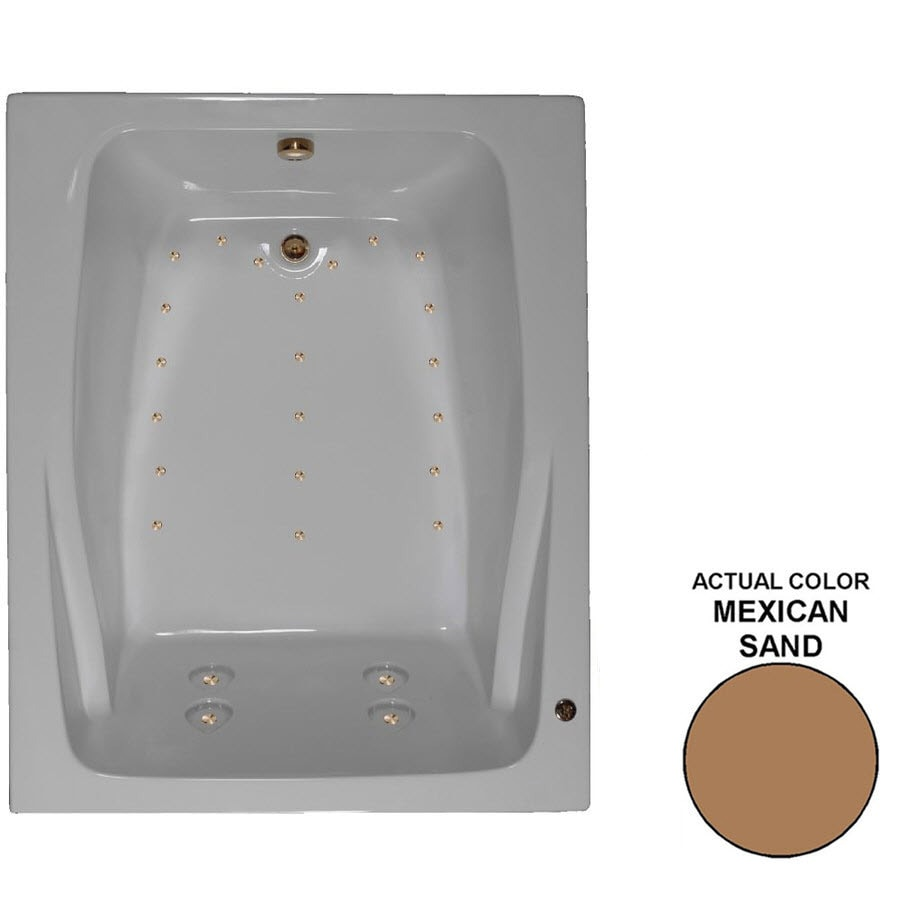 Watertech Whirlpool Baths 60-in L x 48-in W x 24-in H Mexican Sand Acrylic 2-Person Rectangular Drop-in Air Bath