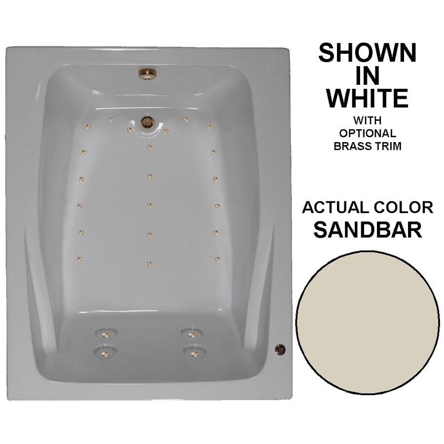 Watertech Whirlpool Baths 60-in L x 48-in W x 24-in H Sandbar Acrylic 2-Person Rectangular Drop-in Air Bath