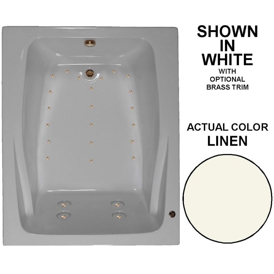 Watertech Whirlpool Baths 60-in L x 48-in W x 24-in H Linen Acrylic 2-Person Rectangular Drop-in Air Bath