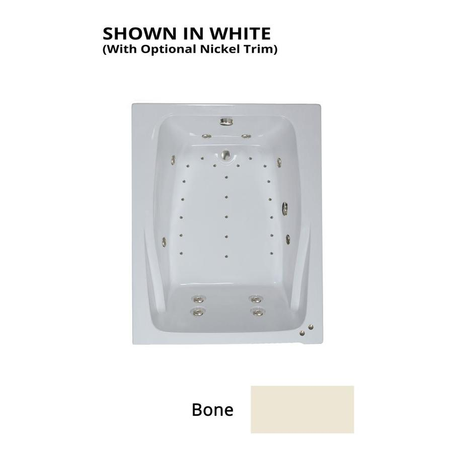 Watertech Whirlpool Baths Designer 60-in L x 48-in W x 24-in H 2-Person Bone Acrylic Rectangular Drop-in Whirlpool Tub and Air Bath