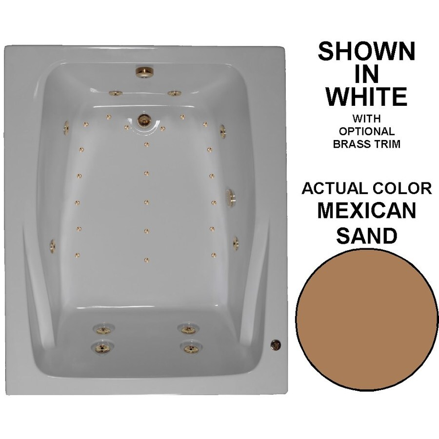 Watertech Whirlpool Baths Designer 60-in L x 48-in W x 24-in H 2-Person Mexican Sand Acrylic Rectangular Drop-in Whirlpool Tub and Air Bath
