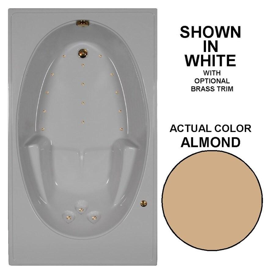 Watertech Whirlpool Baths 72-in L x 42-in W x 20-in H Almond Acrylic Rectangular Drop-in Air Bath