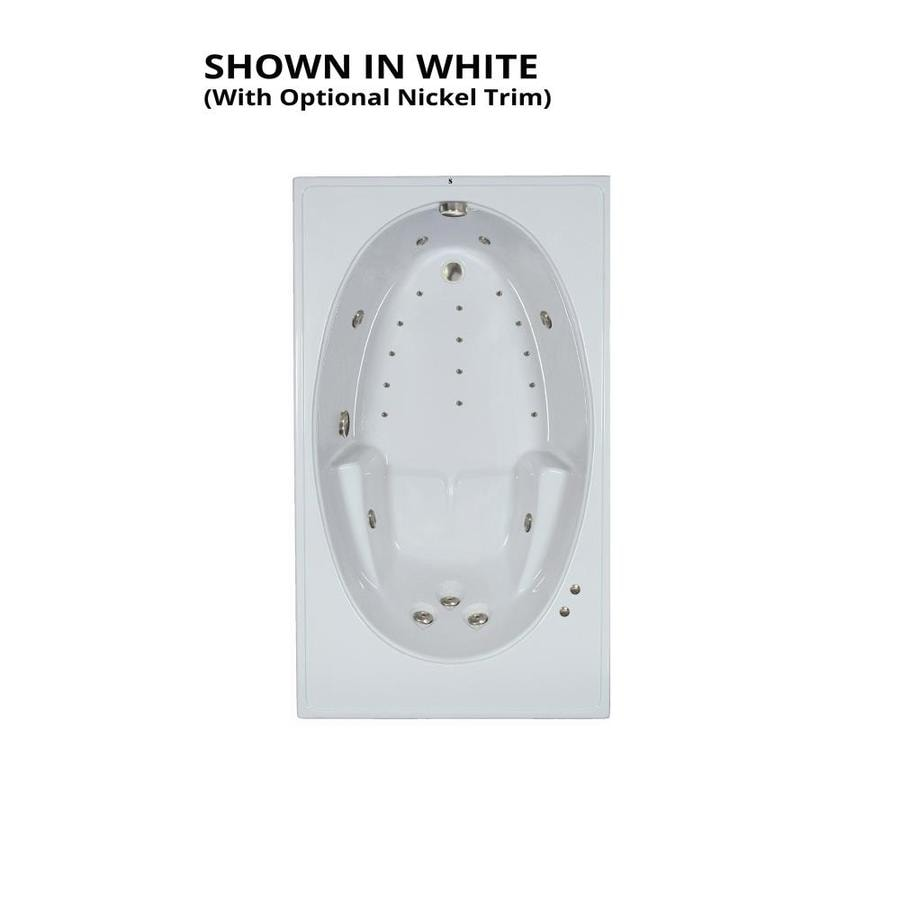 Watertech Whirlpool Baths Designer 72-in L x 42-in W x 20-in H White Acrylic Oval In Rectangle Drop-in Whirlpool Tub and Air Bath