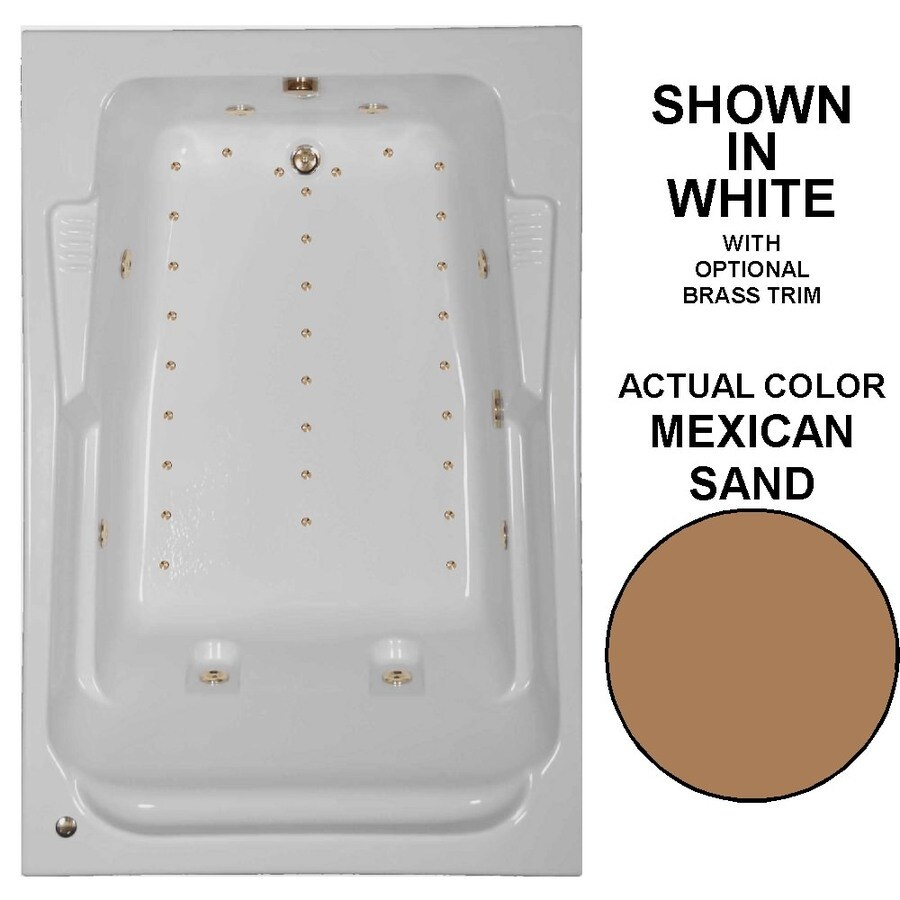 Watertech Whirlpool Baths Designer 72-in L x 48-in W x 22-in H 2-Person Mexican Sand Acrylic Rectangular Drop-in Whirlpool Tub and Air Bath