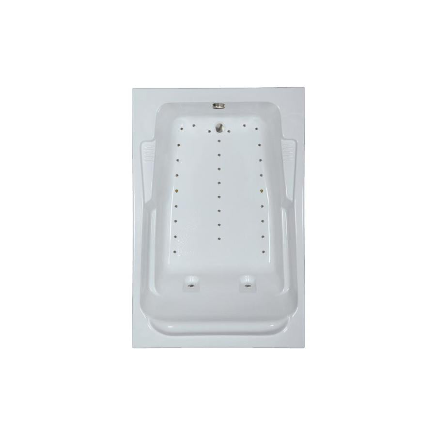 Watertech Whirlpool Baths 72-in L x 48-in W x 23-in H White Acrylic 2-Person Rectangular Drop-in Air Bath