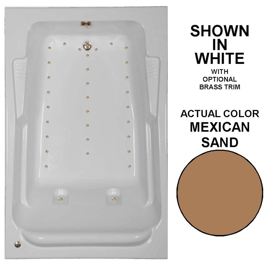 Watertech Whirlpool Baths 72-in L x 48-in W x 23-in H Mexican Sand Acrylic 2-Person Rectangular Drop-in Air Bath