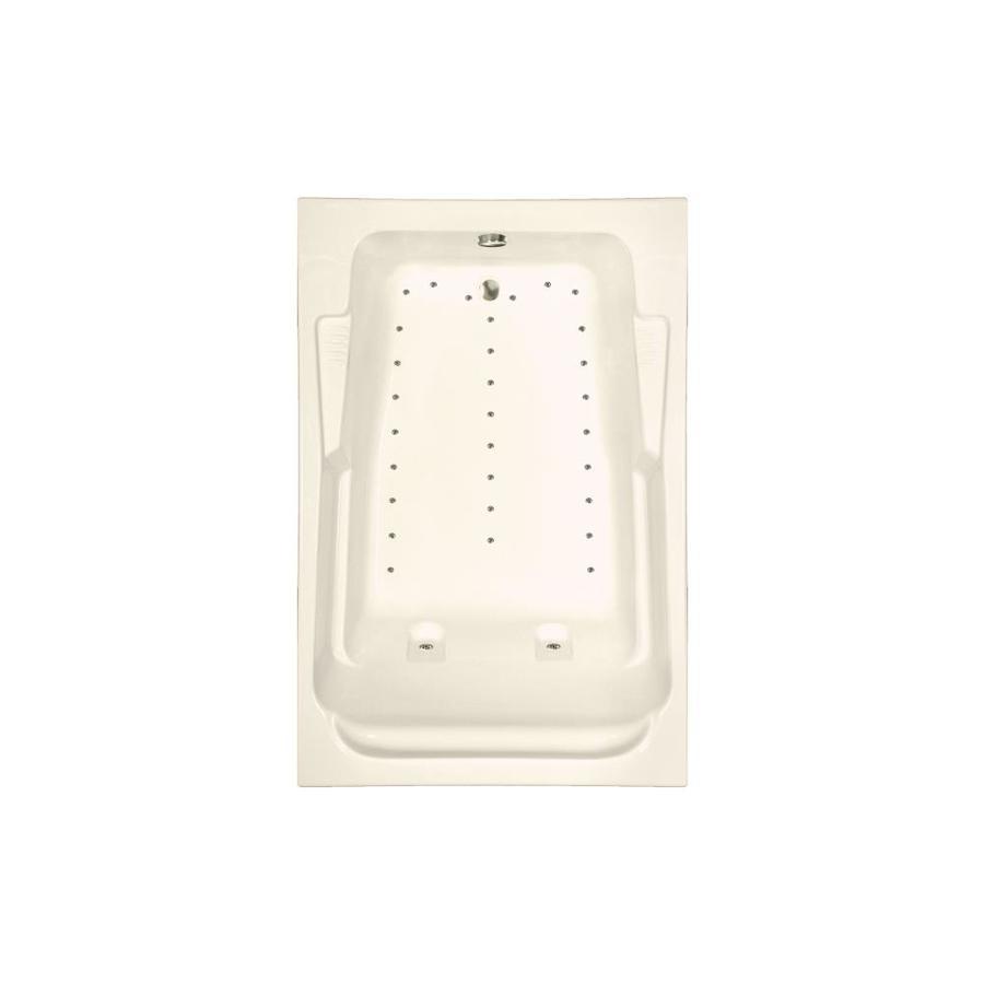 Watertech Whirlpool Baths 72-in L x 48-in W x 23-in H Bone Acrylic 2-Person Rectangular Drop-in Air Bath