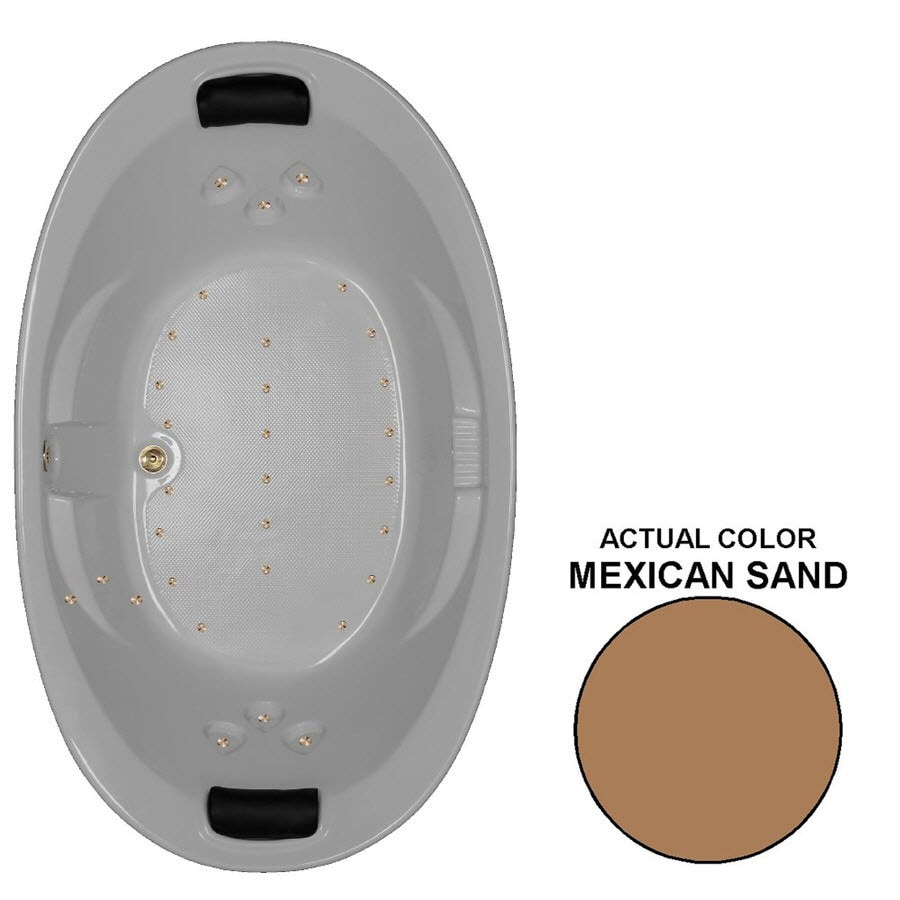 Watertech Whirlpool Baths 86-in L x 46-in W x 22.375-in H Mexican Sand Acrylic 2-Person Oval Drop-in Air Bath