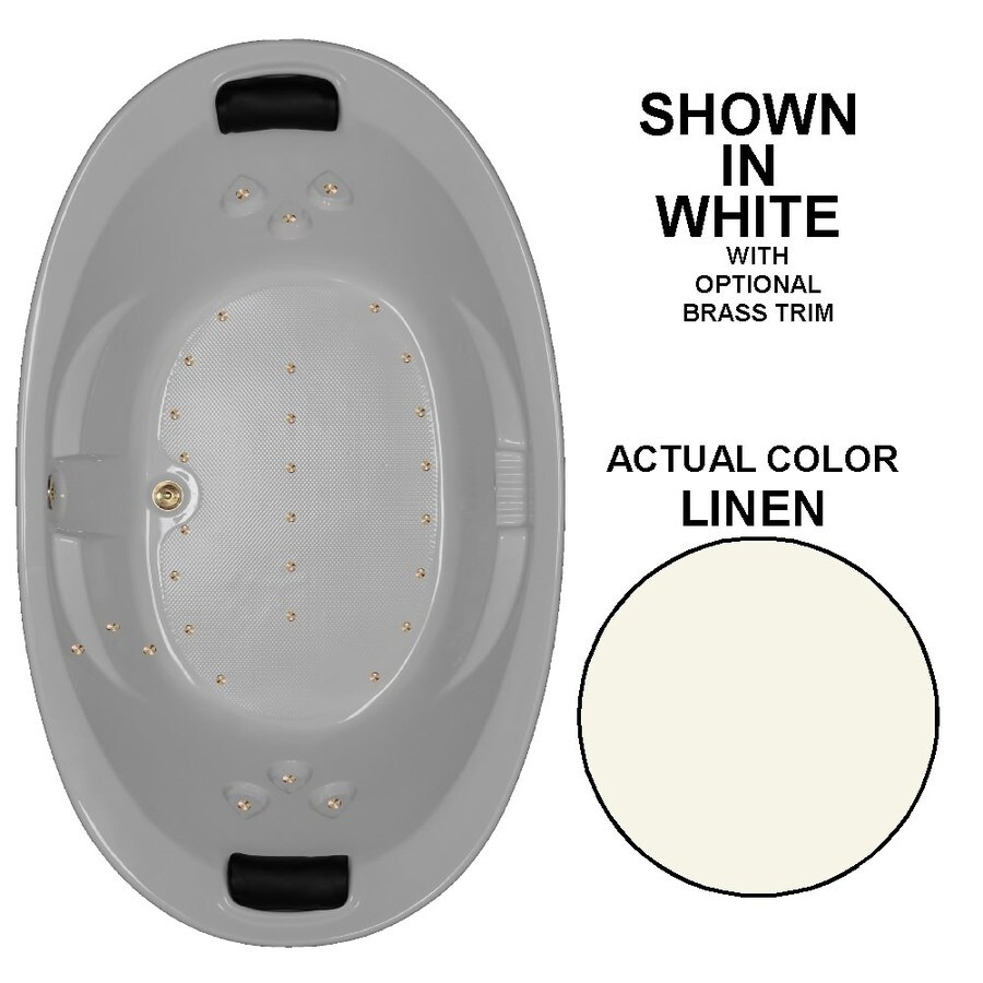 Watertech Whirlpool Baths 86-in L x 46-in W x 22.375-in H Linen Acrylic 2-Person Oval Drop-in Air Bath