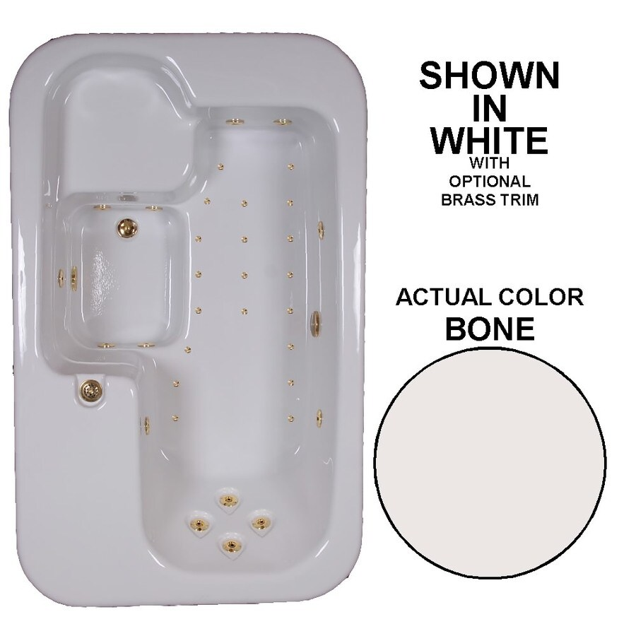 Watertech Whirlpool Baths Elite 72-in L x 44-in W x 25.5-in H Bone Acrylic Rectangular Drop-in Whirlpool Tub and Air Bath