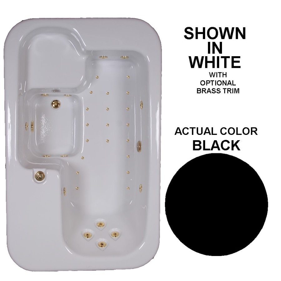Watertech Whirlpool Baths Elite 72-in L x 44-in W x 25.5-in H Black Acrylic Rectangular Drop-in Whirlpool Tub and Air Bath