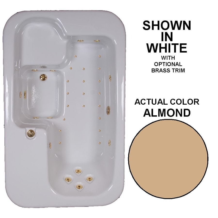 Watertech Whirlpool Baths Elite 72-in L x 44-in W x 25.5-in H Almond Acrylic Rectangular Drop-in Whirlpool Tub and Air Bath
