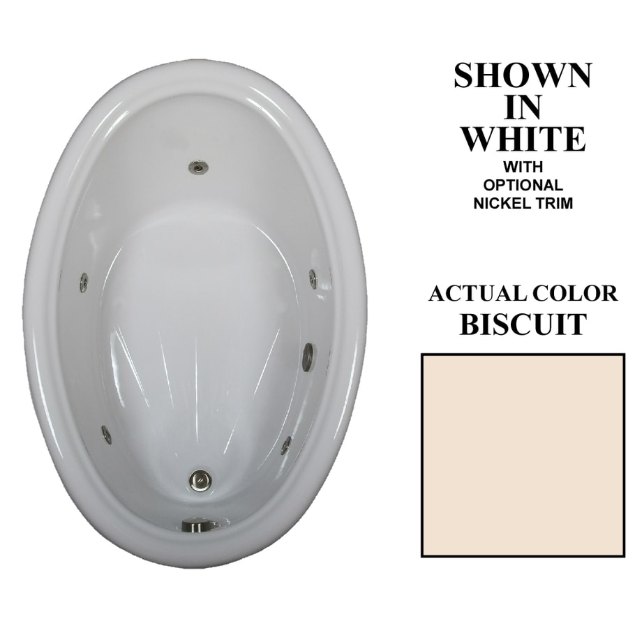 Hydra Massage Baths Biscuit Acrylic Oval Whirlpool Tub (Common: 42-in x 60-in; Actual: 21.25-in x 42-in x 60-in)