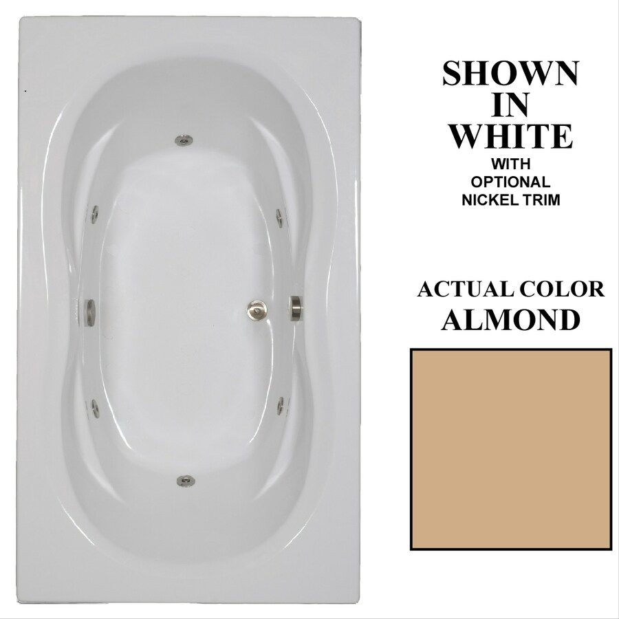 Hydra Massage Baths Almond Acrylic Hourglass In Rectangle Whirlpool Tub (Common: 42-in x 72-in; Actual: 22.75-in x 42-in x 72-in)