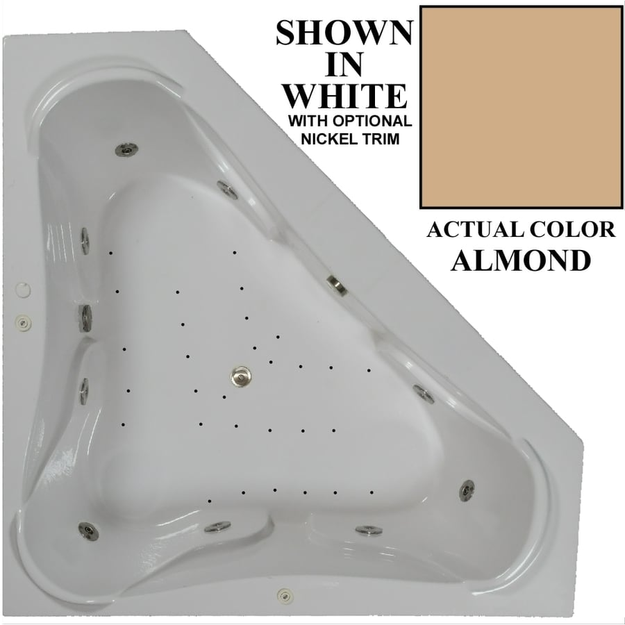 Hydra Massage Baths 72-in L x 72-in W x 23.5-in H 2-Person Almond Acrylic Corner Drop-in Whirlpool Tub and Air Bath