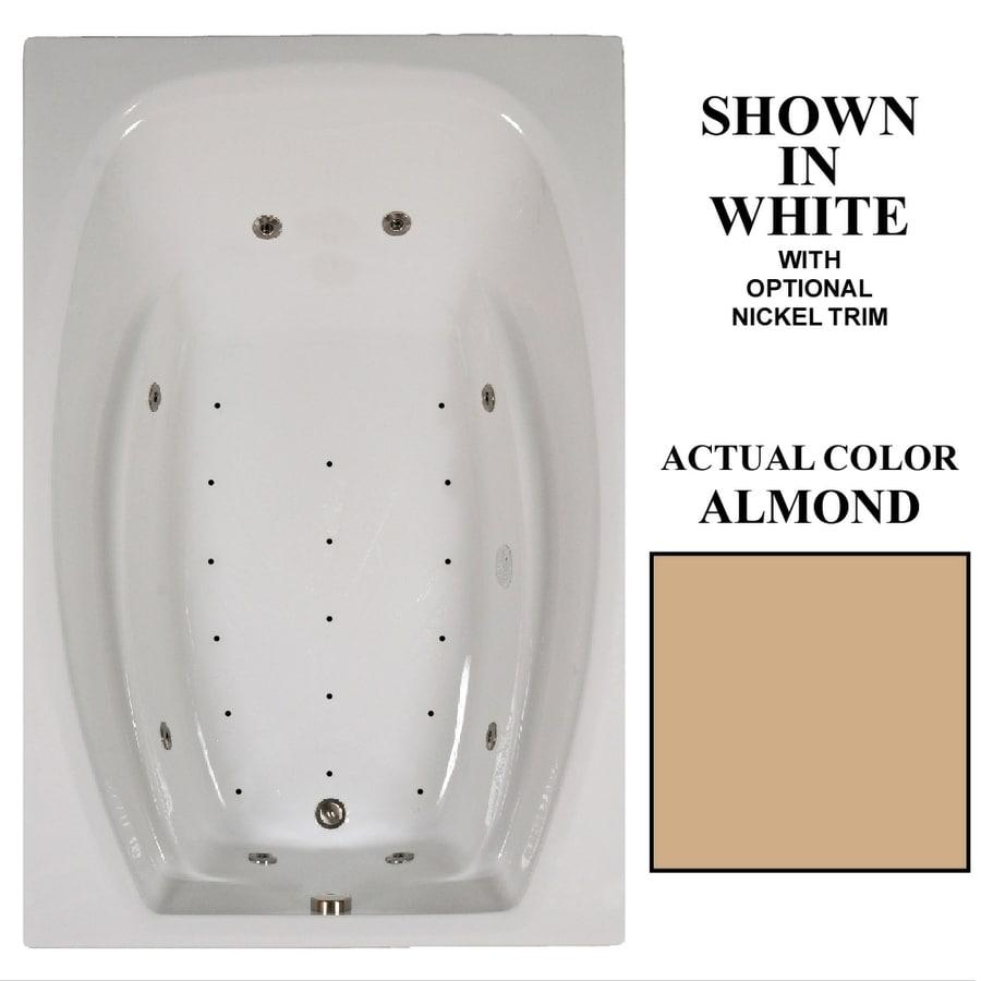 Hydra Massage Baths 72-in L x 48-in W x 23-in H 2-Person Almond Acrylic Rectangular Drop-in Whirlpool Tub and Air Bath