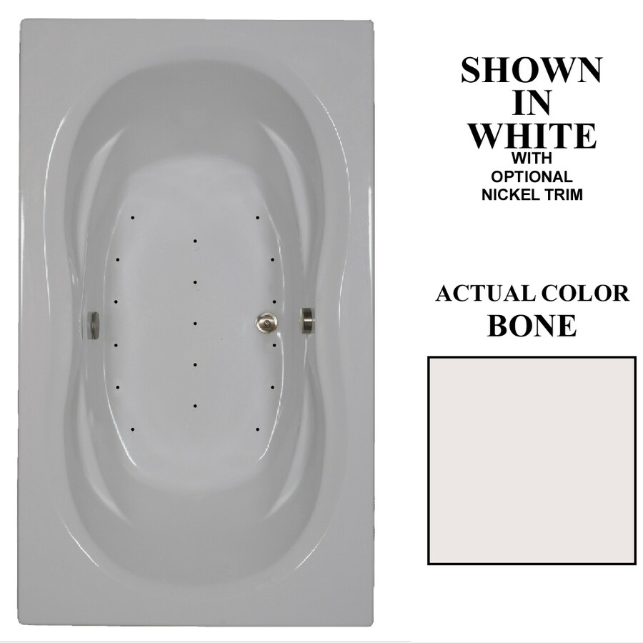 Hydra Massage Baths 72-in L x 42-in W x 23-in H Bone Acrylic 2-Person Hourglass In Rectangle Drop-in Air Bath