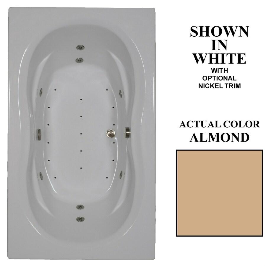 Hydra Massage Baths 72-in L x 42-in W x 22.5-in H 2-Person Almond Acrylic Rectangular Drop-in Whirlpool Tub and Air Bath