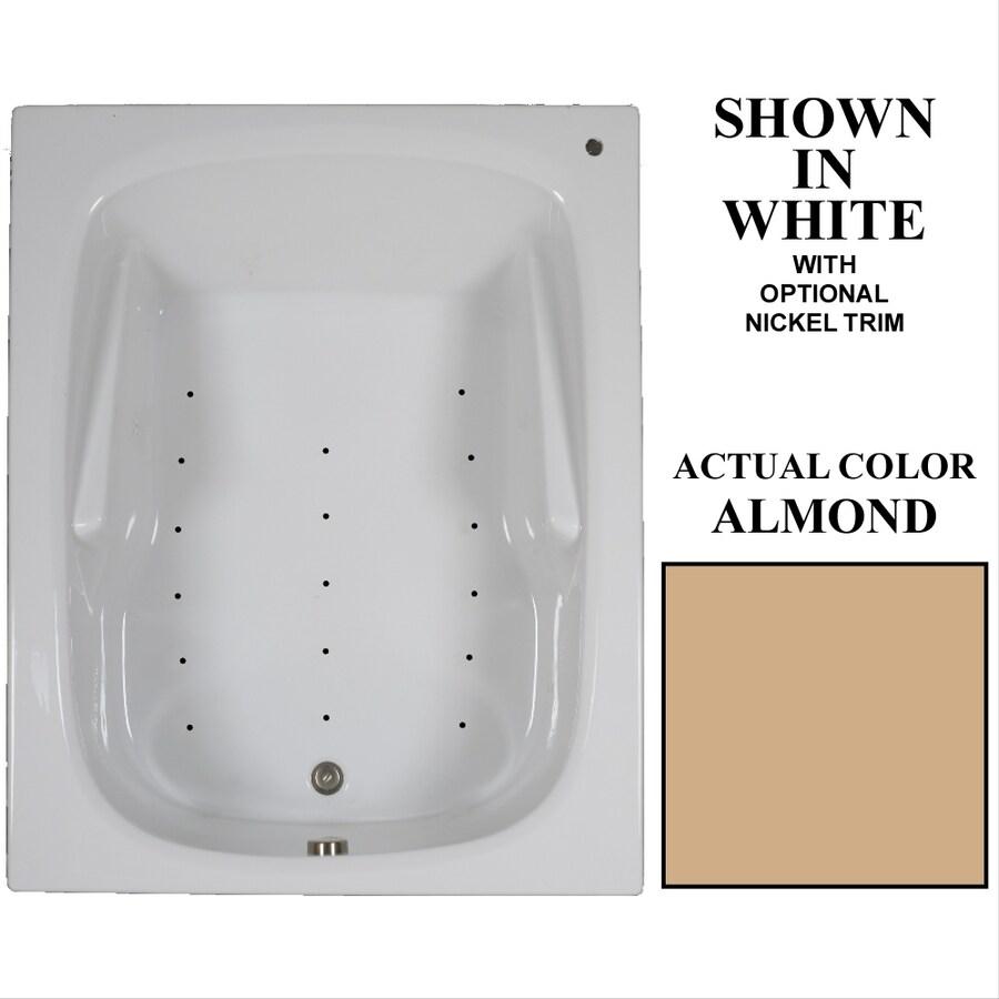 Hydra Massage Baths 60-in L x 48-in W x 23.5-in H Almond Acrylic 2-Person Rectangular Drop-in Air Bath