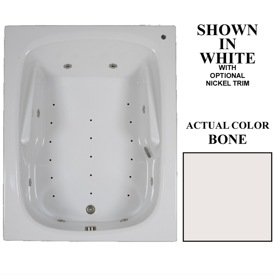 Hydra Massage Baths 60-in L x 48-in W x 23.5-in H 2-Person Bone Acrylic Rectangular Drop-in Whirlpool Tub and Air Bath