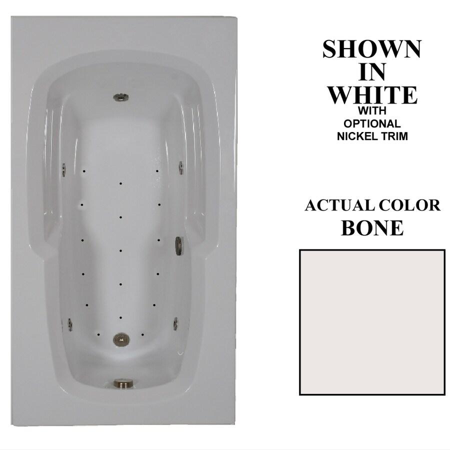 Hydra Massage Baths 60-in L x 36-in W x 20-in H Bone Acrylic Rectangular Drop-in Whirlpool Tub and Air Bath