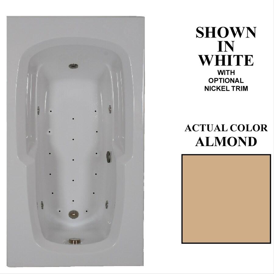 Hydra Massage Baths 60-in L x 32-in W x 18.75-in H Almond Acrylic Rectangular Drop-in Whirlpool Tub and Air Bath