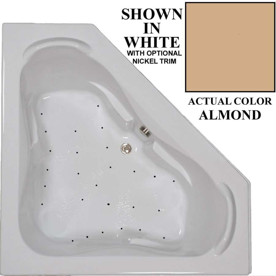 Hydra Massage Baths 60-in L x 60-in W x 23.5-in H Almond Acrylic 2-Person Corner Drop-in Air Bath