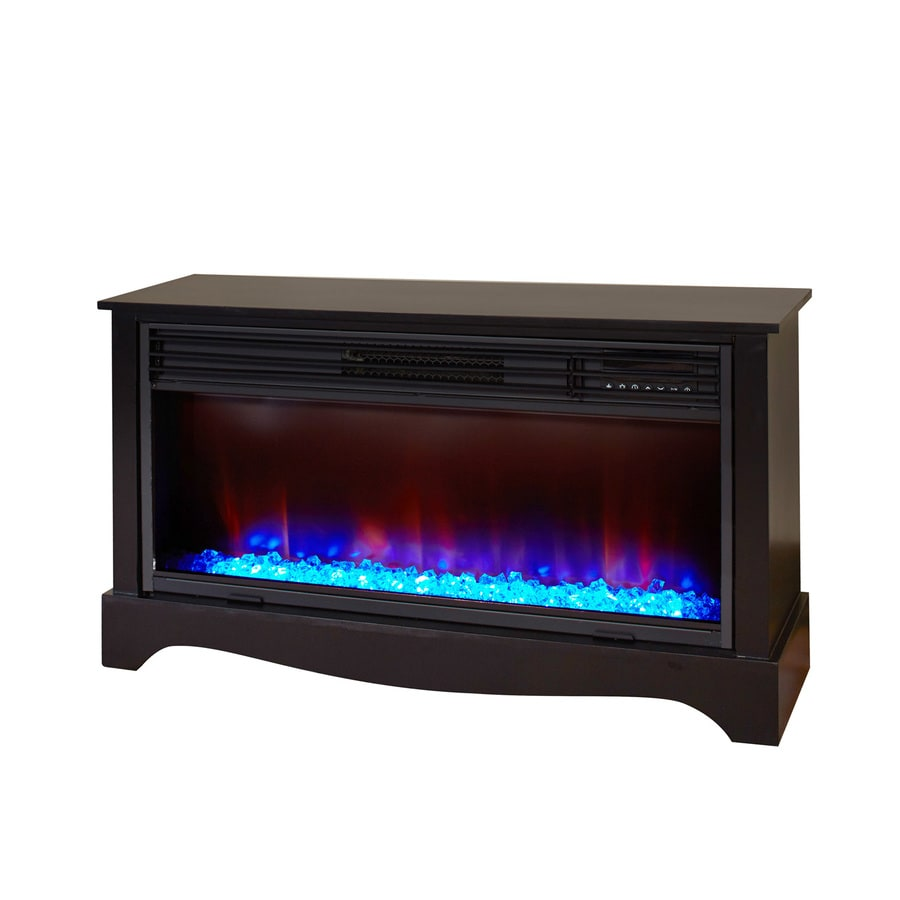 Shop Lifesmart 36 In W 5 100 Btu Black Wood Infrared Quartz Electric Fireplace With Thermostat