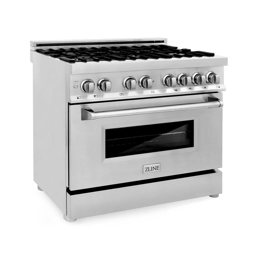 Zline Kitchen Bath Professional 36 In Deep Recessed 6 Burners Convection Dual Fuel Range Stainless Steel In The Single Oven Dual Fuel Ranges Department At Lowes Com