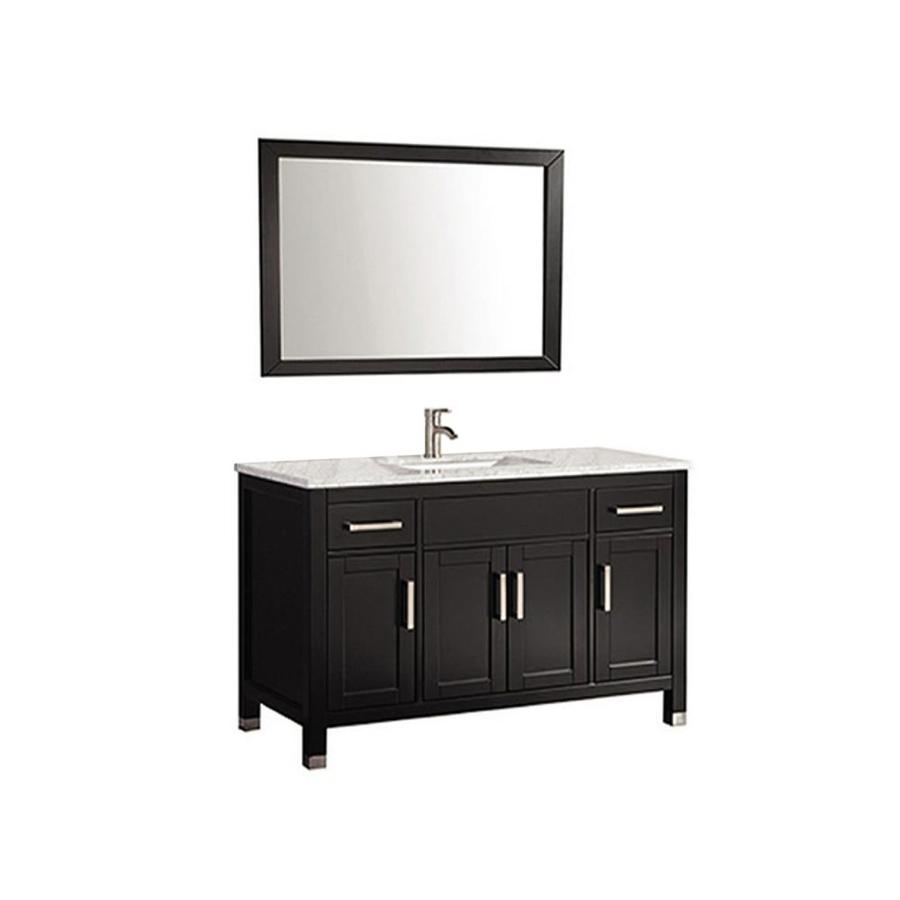 MTD Vanities Ricca Espresso Undermount Single Sink Oak Bathroom Vanity with Natural Marble Top (Faucet and Mirror Included) (Common: 48-in x 22-in; Actual: 48-in x 22-in)