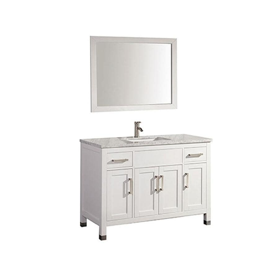 MTD Vanities Ricca White Undermount Single Sink Oak Bathroom Vanity with Natural Marble Top (Faucet and Mirror Included) (Common: 48-in x 22-in; Actual: 48-in x 22-in)
