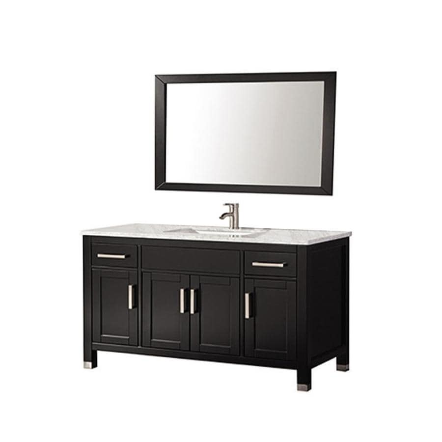 MTD Vanities Ricca Espresso Undermount Single Sink Oak Bathroom Vanity with Natural Marble Top (Faucet and Mirror Included) (Common: 60-in x 22-in; Actual: 60-in x 22-in)