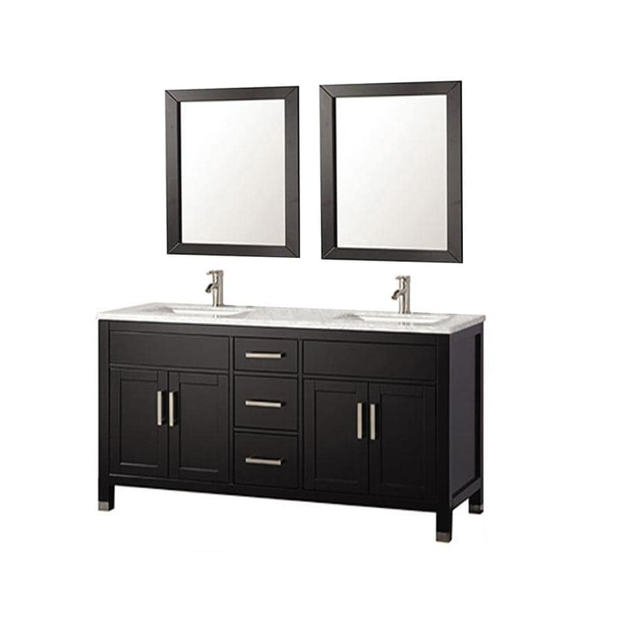 MTD Vanities Ricca Espresso Undermount Double Sink Oak Bathroom Vanity with Natural Marble Top (Faucet and Mirror Included) (Common: 84-in x 22-in; Actual: 84-in x 22-in)