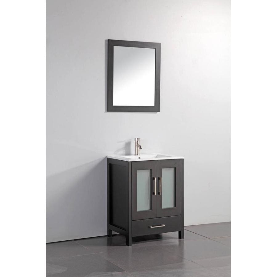 MTD Vanities Argentina Espresso Integral Single Sink Oak Bathroom Vanity with Ceramic Top (Faucet and Mirror Included) (Common: 24-in x 18-in; Actual: 24-in x 18-in)