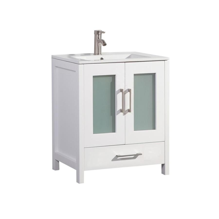 MTD Vanities Argentina White Integral Single Sink Oak Bathroom Vanity with Ceramic Top (Faucet and Mirror Included) (Common: 30-in x 18-in; Actual: 30-in x 18-in)