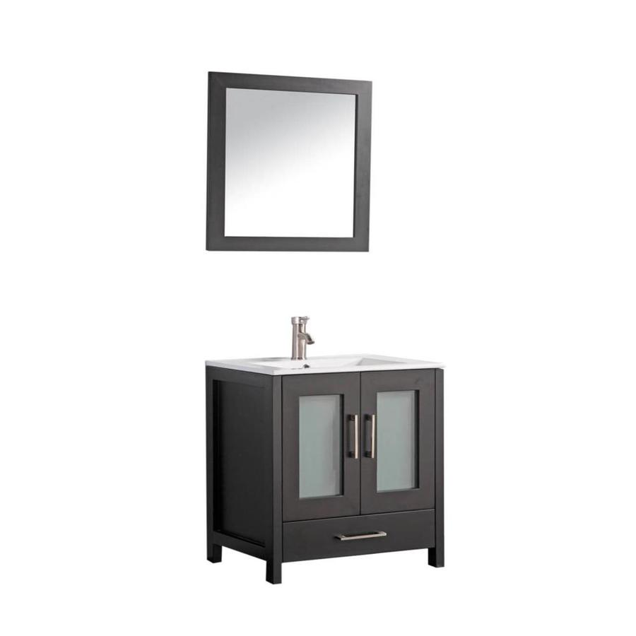 MTD Vanities Argentina Espresso Integral Single Sink Oak Bathroom Vanity with Ceramic Top (Faucet and Mirror Included) (Common: 36-in x 18-in; Actual: 36-in x 18-in)
