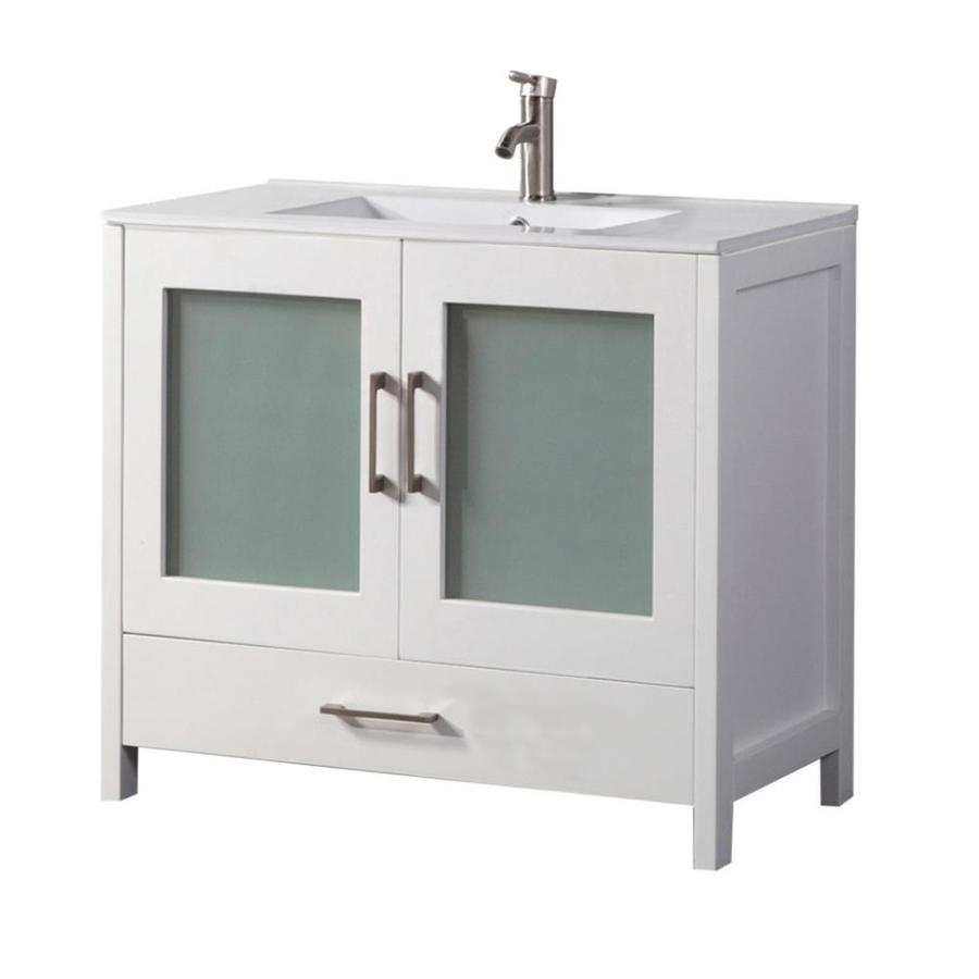MTD Vanities Argentina White Integral Single Sink Oak Bathroom Vanity with Ceramic Top (Faucet and Mirror Included) (Common: 36-in x 18-in; Actual: 36-in x 18-in)